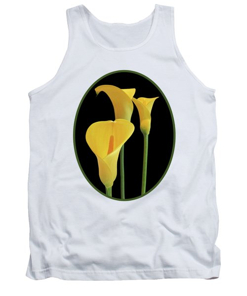 Calla Lilies - Yellow On Black Tank Top by Gill Billington