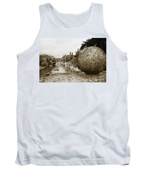 Tank Top featuring the photograph Cambridge Punting Sepia by Eden Baed