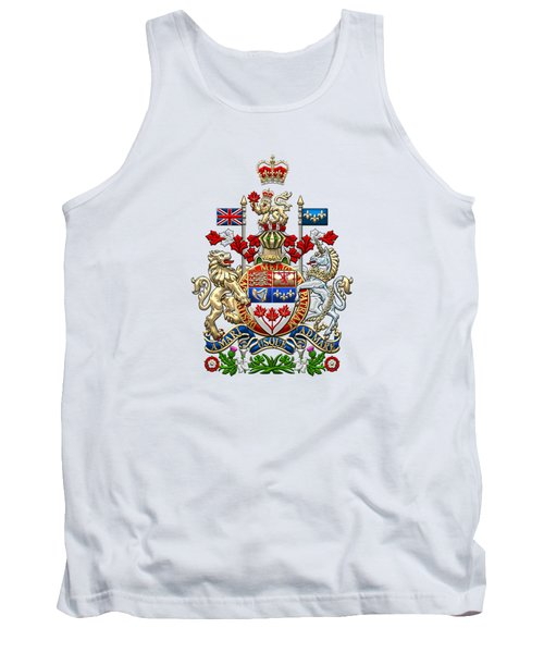 Canada Coat Of Arms Over White Leather Tank Top