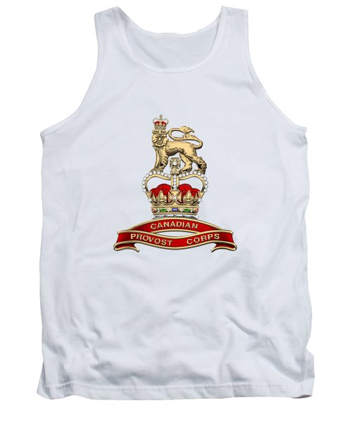 Canadian Provost Corps - C Pro C Badge Over White Leather Tank Top by Serge Averbukh