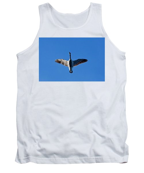 Tank Top featuring the photograph Candian Goose In Flight 1648 by Michael Peychich