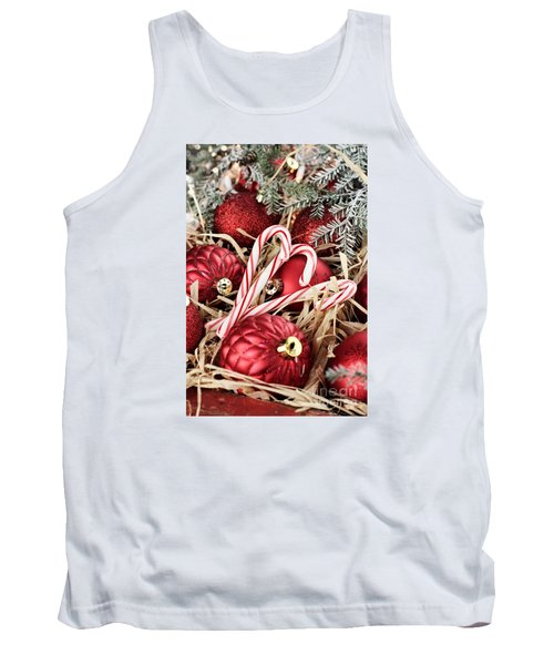 Candy Canes And Red Christmas Ornaments Tank Top