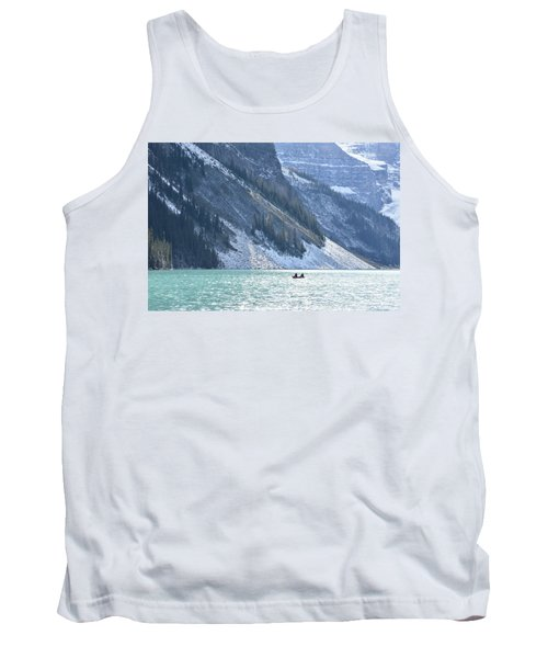Canoeing On Lake Louise Tank Top by Keith Boone