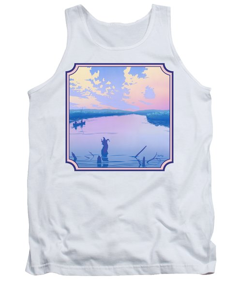 Canoeing The River Back To Camp At Sunset Landscape Abstract - Square Format Tank Top