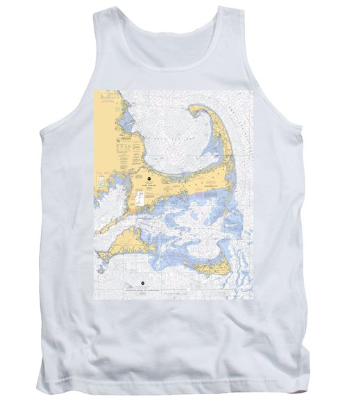 Cape Cod, Martha's Vineyard And Nantucket Nautical Chart Tank Top