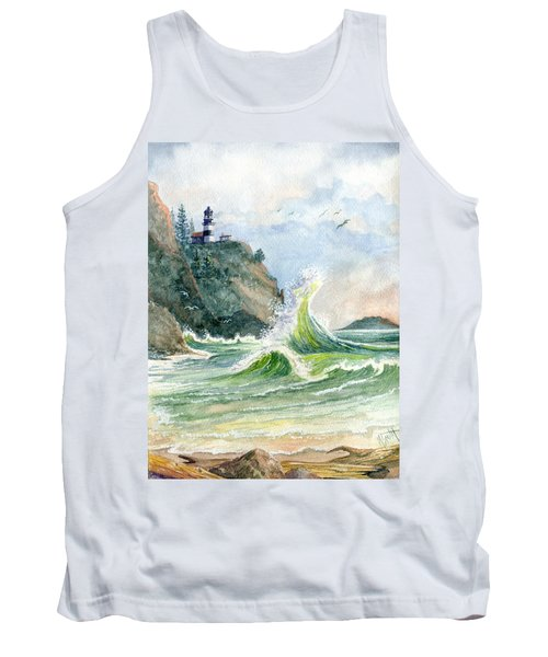 Tank Top featuring the painting Cape Disappointment Lighthouse by Marilyn Smith