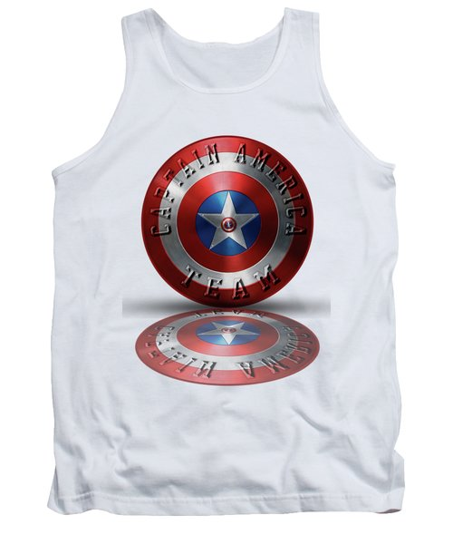 Captain America Team Typography On Captain America Shield  Tank Top by Georgeta Blanaru