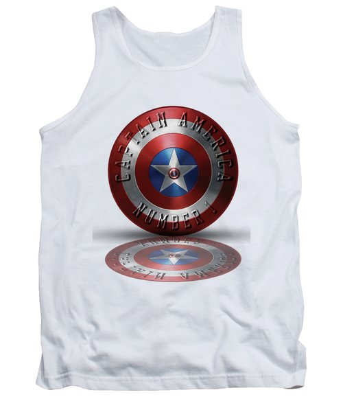 Captain America Typography On Captain America Shield  Tank Top by Georgeta Blanaru