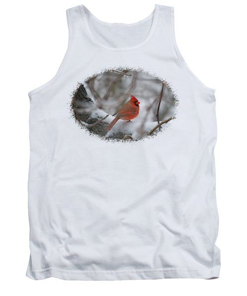 Cardinal On Snowy Branch Tank Top by Larry Bishop