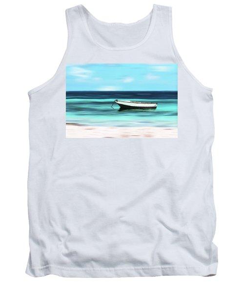 Caribbean Dream Boat Tank Top by Deborah Smith