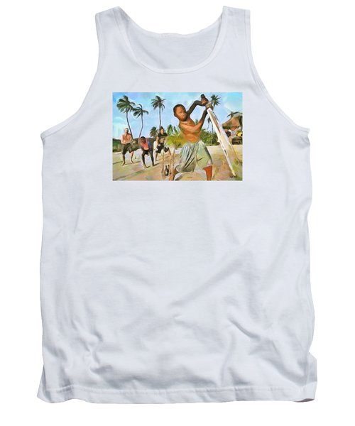 Tank Top featuring the painting Caribbean Scenes - Cricket On De Beach by Wayne Pascall