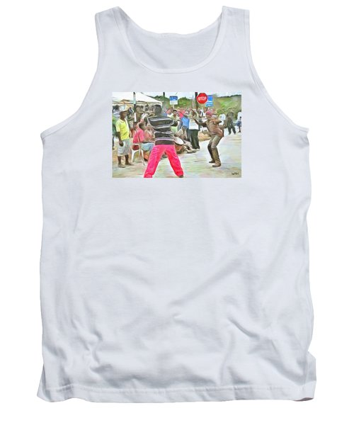 Tank Top featuring the painting Caribbean Scenes - De Stick Fight by Wayne Pascall