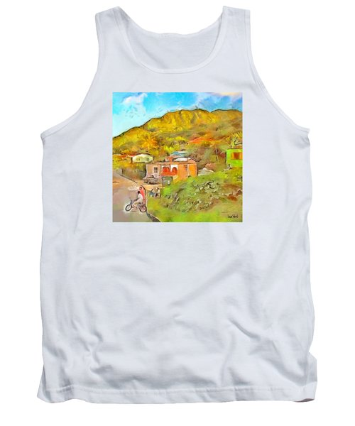 Tank Top featuring the painting Caribbean Scenes - De Village by Wayne Pascall
