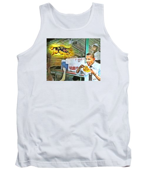 Caribbean Scenes - Obama Eats Doubles In Trinidad Tank Top by Wayne Pascall