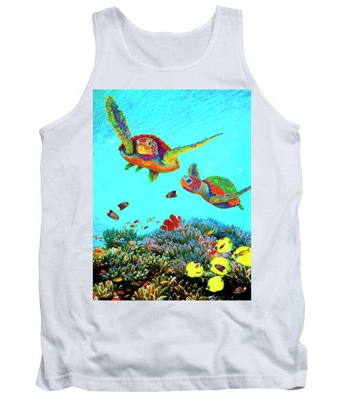 Caribbean Sea Turtles And Reef Fish Vertical Tank Top