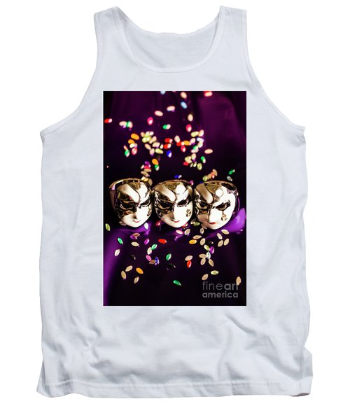 Carnival Mask Jewelry On Purple Background Tank Top