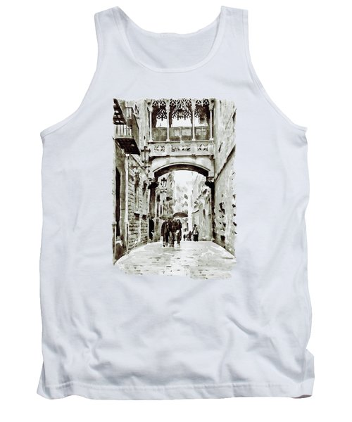 Carrer Del Bisbe - Barcelona Black And White Tank Top by Marian Voicu