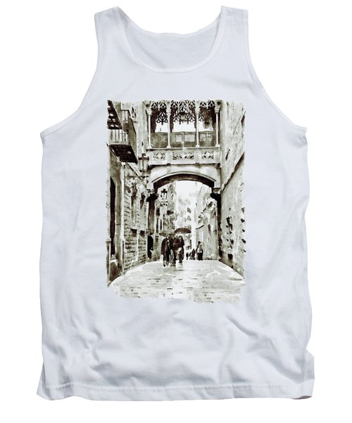 Carrer Del Bisbe - Barcelona Black And White Tank Top