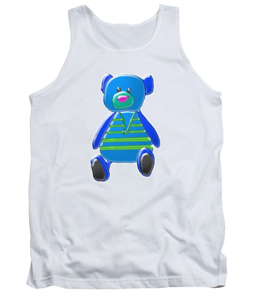 Tank Top featuring the digital art Cartoon Bear In Sweater Vest by Karen Nicholson