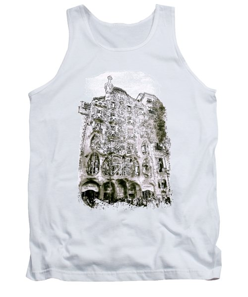 Casa Batllo Barcelona Black And White Tank Top