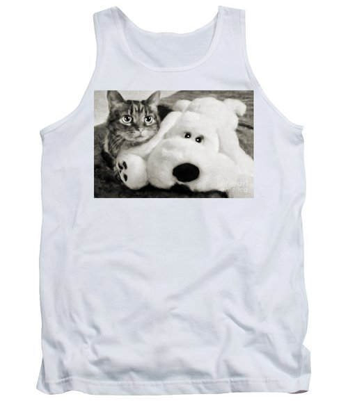 Cat And Dog In B W Tank Top