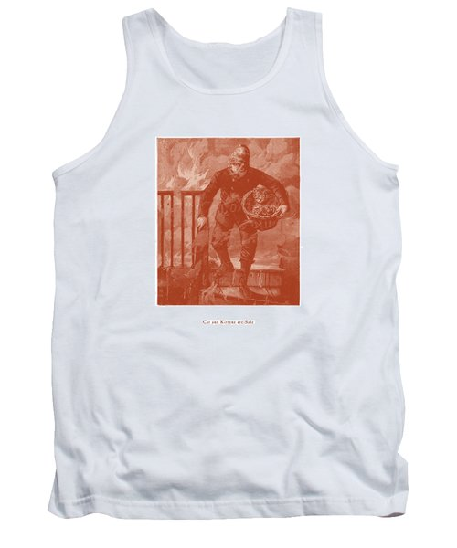 Cat And Kittens Are Safe Tank Top by David Davies