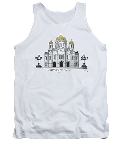 Tank Top featuring the drawing Cathedral  Of Christ The Savior - Moscow by Frederic Kohli