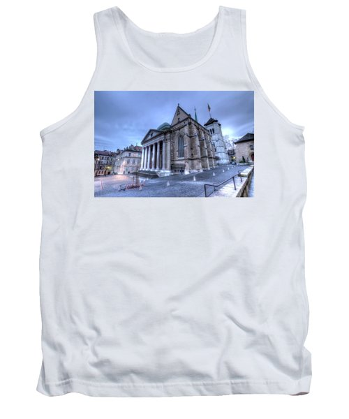 Cathedral Saint-pierre, Peter, In The Old City, Geneva, Switzerland, Hdr Tank Top by Elenarts - Elena Duvernay photo