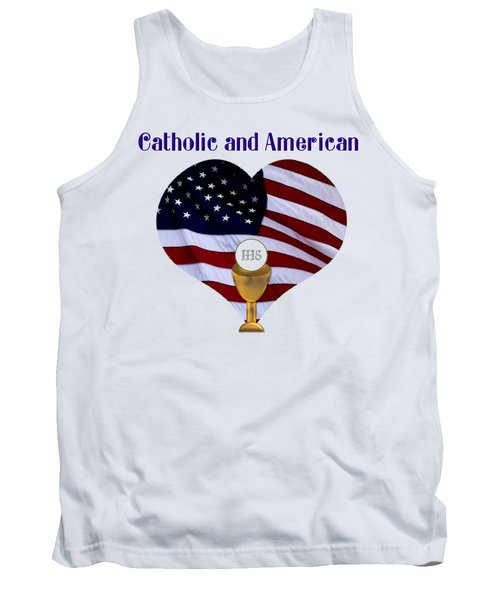 Catholic And American Flag And Holy Eucharist Tank Top