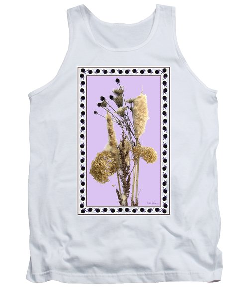 Tank Top featuring the digital art Cattails And November Flowers by Lise Winne