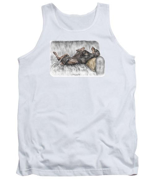 Tank Top featuring the drawing Caution Guard Dog - Doberman Pinscher Print Color Tinted by Kelli Swan