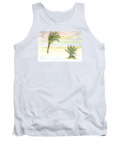 Tank Top featuring the digital art Cayman Beach by Darren Cannell