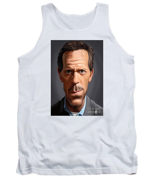 Tank Top featuring the drawing Celebrity Sunday - Hugh Laurie by Rob Snow
