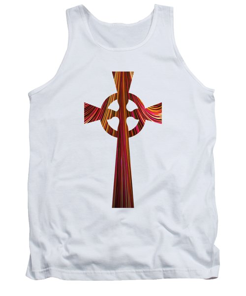 Celtic Cross With Fractal Abstract Fill Tank Top