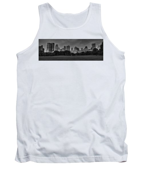 Tank Top featuring the photograph Central Park Skyline Pano 001 Bw by Lance Vaughn