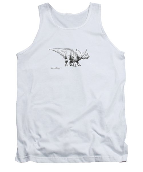 Tank Top featuring the drawing Cera The Triceratops - Dinosaur Ink Drawing by Karen Whitworth