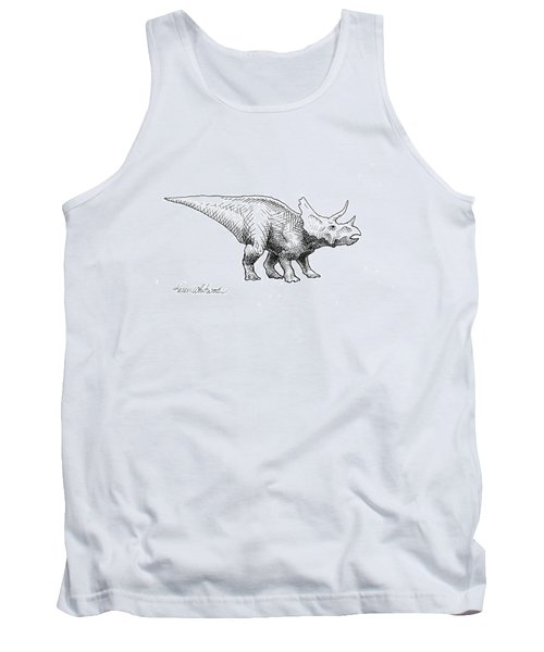 Cera The Triceratops - Dinosaur Ink Drawing Tank Top