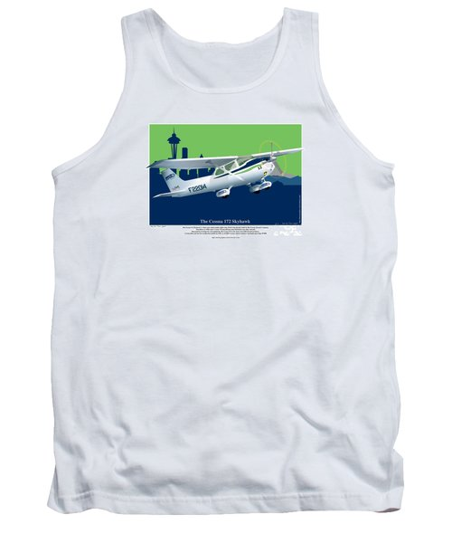 Tank Top featuring the drawing Cessna Skyhawk 172 by Kenneth De Tore