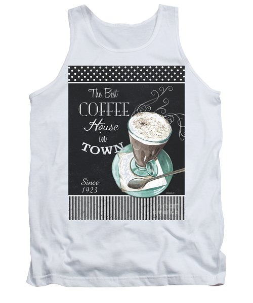Tank Top featuring the painting Chalkboard Retro Coffee Shop 2 by Debbie DeWitt
