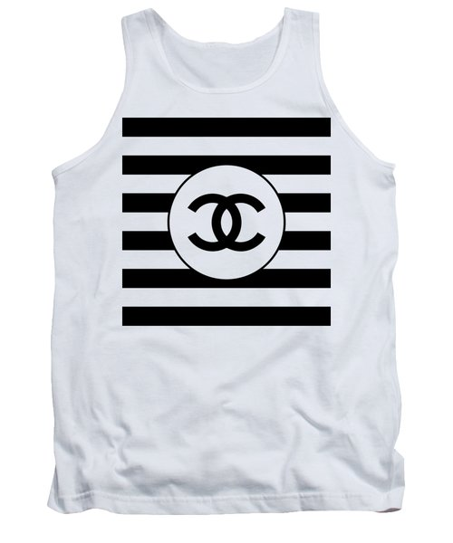Chanel - Stripe Pattern - Black And White 1 - Fashion And Lifestyle Tank Top