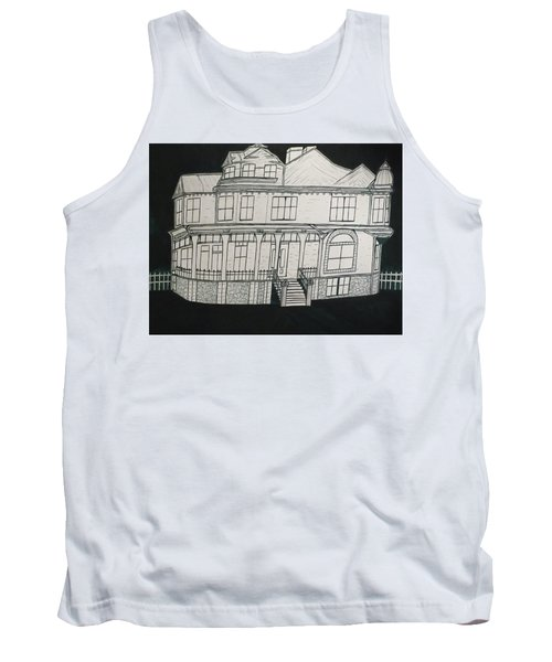 Tank Top featuring the drawing Charles A. Spies Historical Menominee Home. by Jonathon Hansen