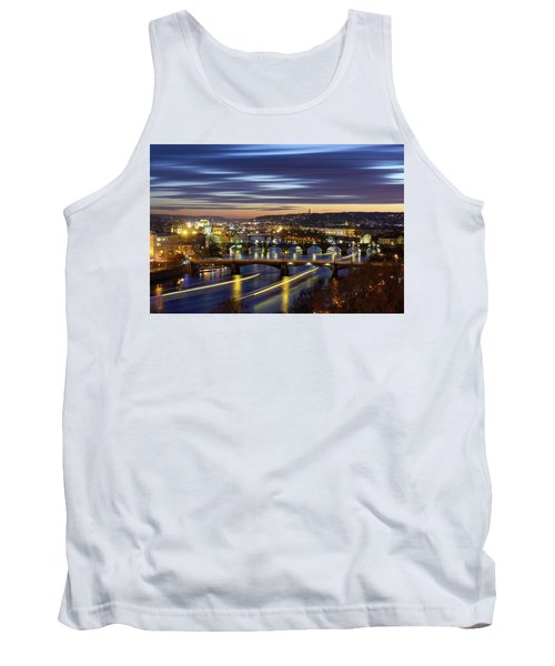 Charles Bridge During Sunset With Several Boats, Prague, Czech Republic Tank Top