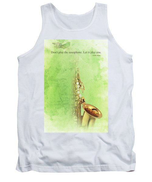Charlie Parker Saxophone Green Vintage Poster And Quote, Gift For Musicians Tank Top by Pablo Franchi