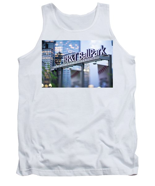 Tank Top featuring the photograph  Charlotte Nc Usa  Bbt Baseball Park Sign  by Alex Grichenko