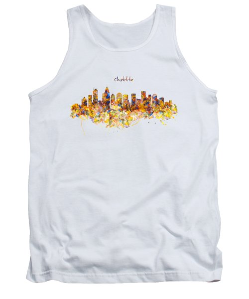 Charlotte Watercolor Skyline Tank Top by Marian Voicu