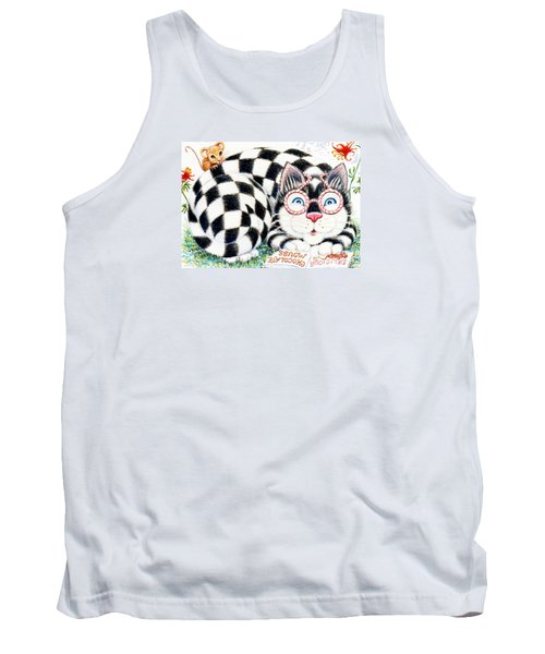Tank Top featuring the drawing Checkers by Dee Davis