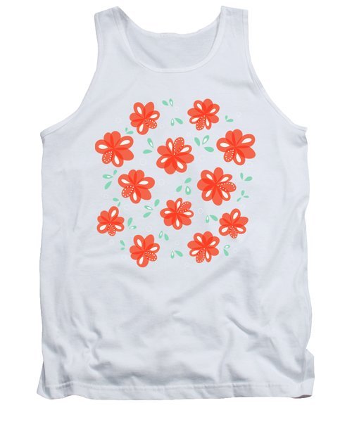 Cheerful Red Flowers Tank Top