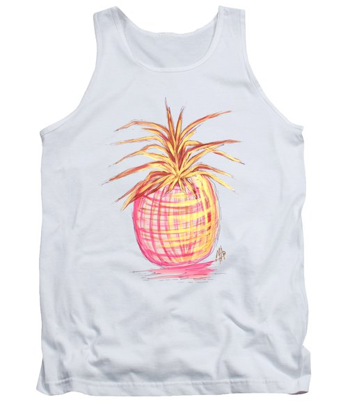 Chic Pink Metallic Gold Pineapple Fruit Wall Art Aroon Melane 2015 Collection By Madart Tank Top by Megan Duncanson