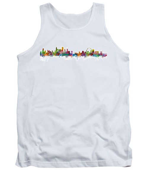Chicago And St Louis Skyline Mashup Tank Top by Michael Tompsett
