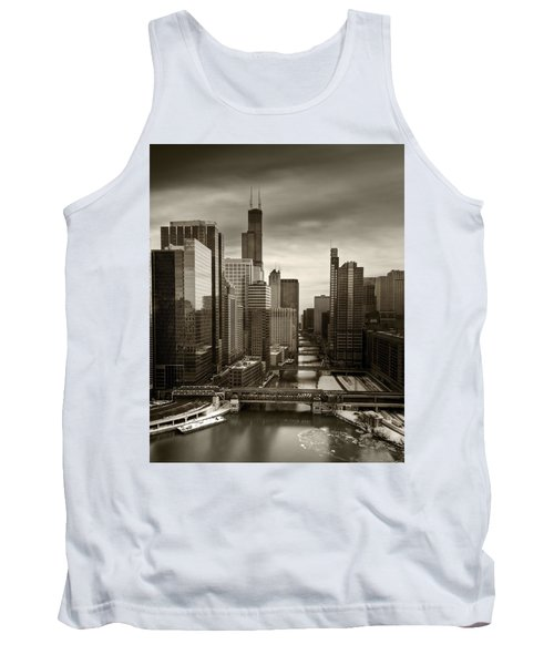 Chicago City View Afternoon B And W 16x20 Tank Top